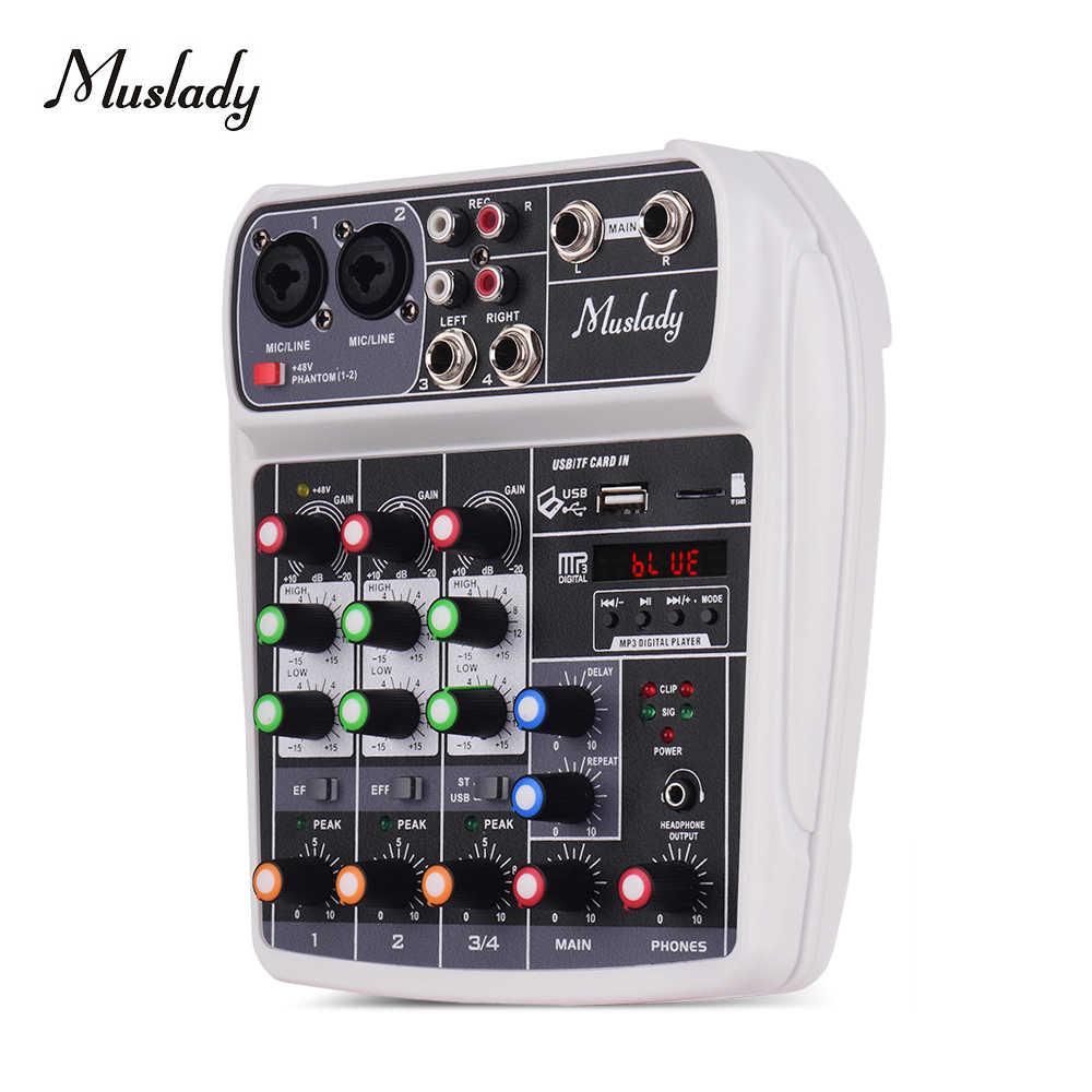 Muslady AI-4 Kompakte Soundkarte Mischen Konsole Digital Audio Mixer BT MP3 USB Eingang + 48V Phantom Power für musik Aufnahme