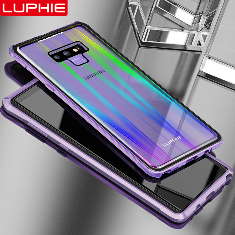 half off 80970 9f347 US $11.81 31% OFF|LUPHIE Laser Aurora Magnetic Case For Samsung Galaxy Note  9 Metal Bumper Clear Glass Back Cover For Samsung Note 9 Magnet Case-in ...