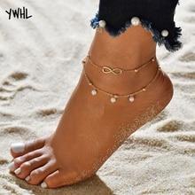 European and American fashion hot pearl cake figure 8 womens anklets jewelry handmade beaded beach