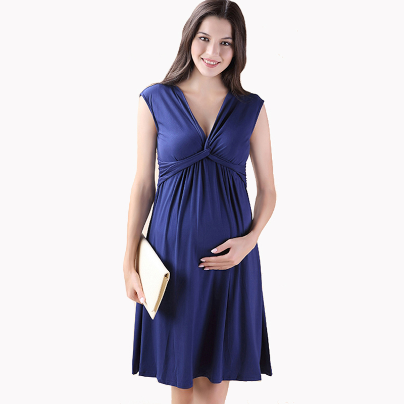 Summer Knee Length Lycra Maternity Dresses V-Neck Short Sleeve Vest Vestidos for Pregnancy Elegant Women Evening Party Dress women formal dresses for work elegant office pencil bodycon short sleeve turn down collar with belt dark blue summer dress