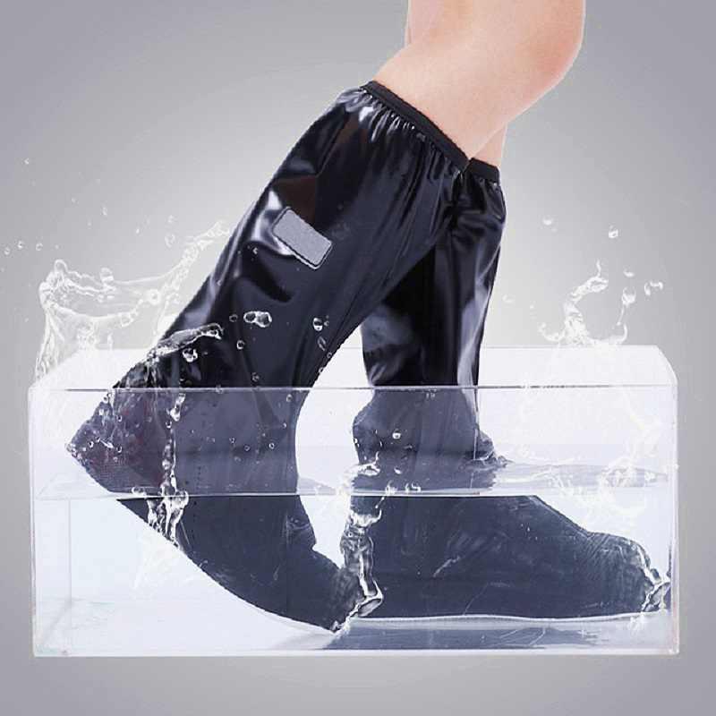 1 Pasang Hitam Tahan Air Hujan Sepatu Boot Cover dengan Reflektor Bersepeda Windproof Dapat Digunakan Kembali Penutup Sepatu untuk Pria Wanita