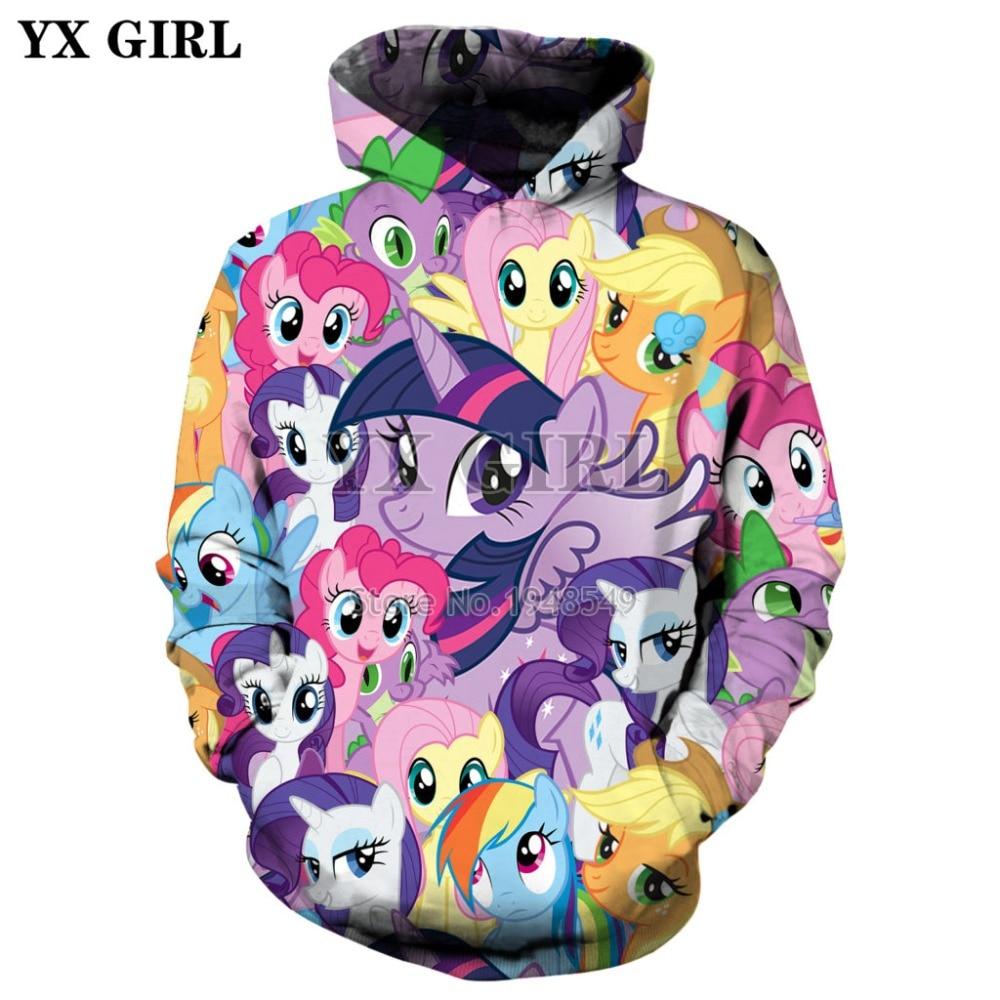 YX GIRL Fashion hoodies Cartoon My Little Pony 3D Full Print Men Women hoodie streetwear Casual Costumes sudadera hombre TM-996