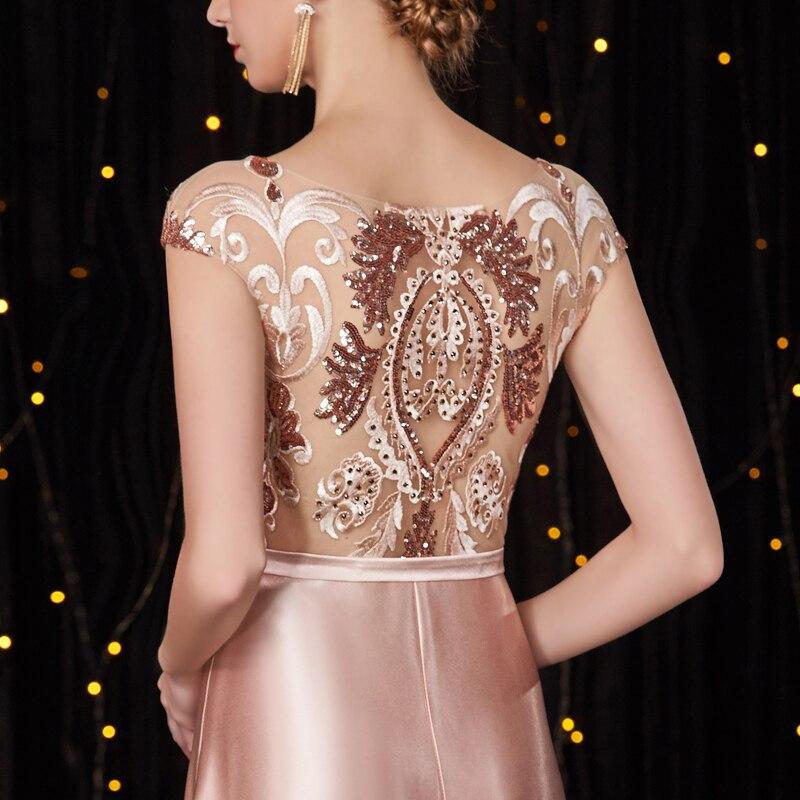 Broderie Parti Élégant Pour Gala Up3 Paillettes Date Longue Gratuating De Pink Cérémonie 2018 Femmes Soirées Robes Proms Robe Nouveau Satin d8w18P