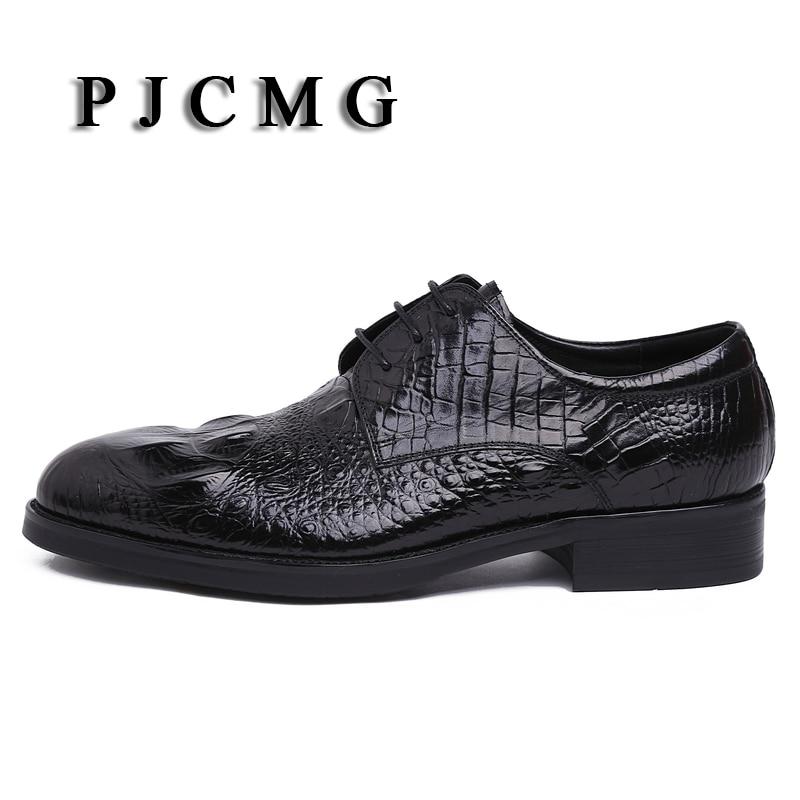 Bout Black Plat Relief Chaussures Véritable Pjcmg Hommes Pointu En wq0OHn6