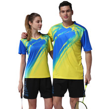 Zomer badminton training sets mannen vrouwen badminton sneldrogende tennis uniformen kleding sport mannen ademend badminton t-shirt DIY(China)