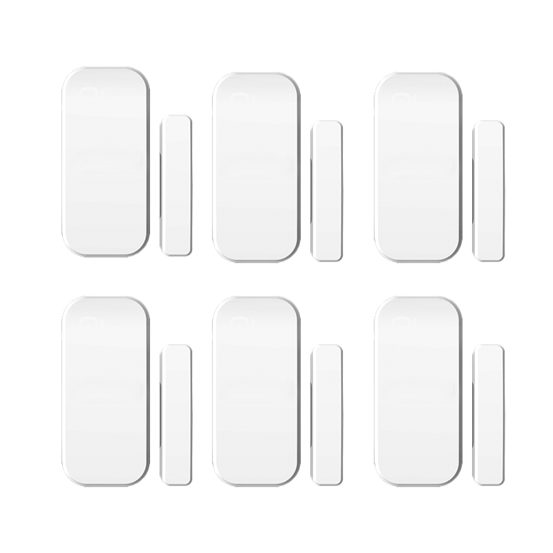 6pcs/lot Intelligent  Wireless Door Magnetic Sensor  Door Gap Window Sensors Detectors 433MHz  For our Alarm System wireless vibration break breakage glass sensor detector 433mhz for alarm system