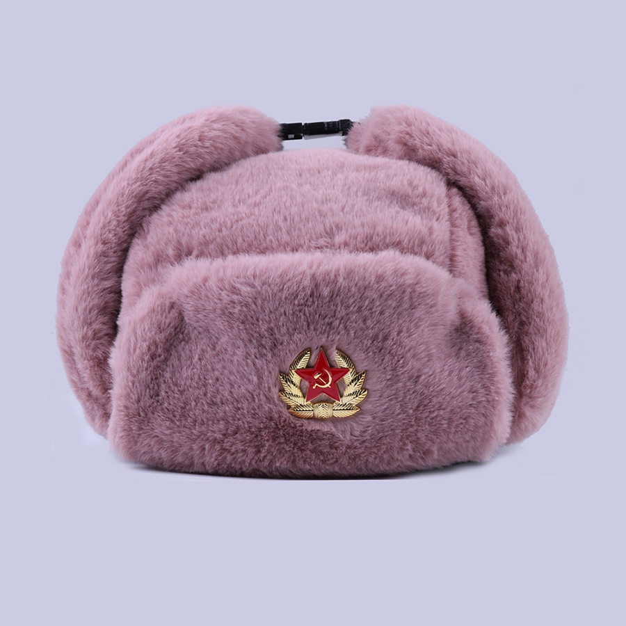 Image 4 - Soviet Badge Ushanka Russian Men Women Winter Hats Faux Rabbit Fur Army Military Bomber Hat Cossack Trapper Earflap Snow Ski Cap-in Men's Bomber Hats from Apparel Accessories