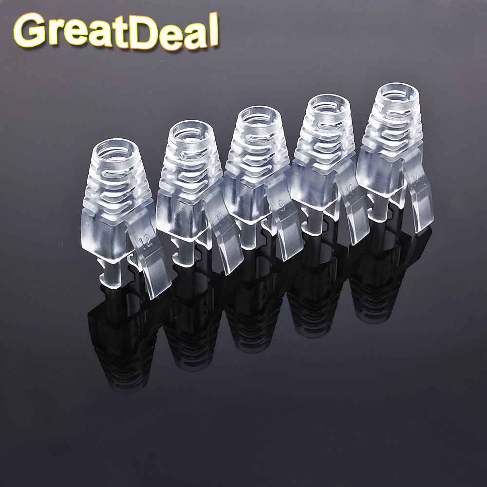 50 100pcs Cat5 Cat5e Cat6 Rj45 Connector Plugs Ethernet Cable Shielded 26 Awg Pvc Jacket Gray 150 Ft Network Strain Relief Boots Plug Caps Hy1528