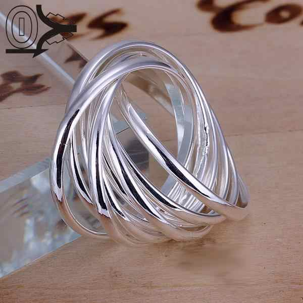 Christmas Gift Wholesale Silver-plated Ring,Silver Fashion Jewelry,Fashion Nine Circles Jewelry Women Gift Finger Rings