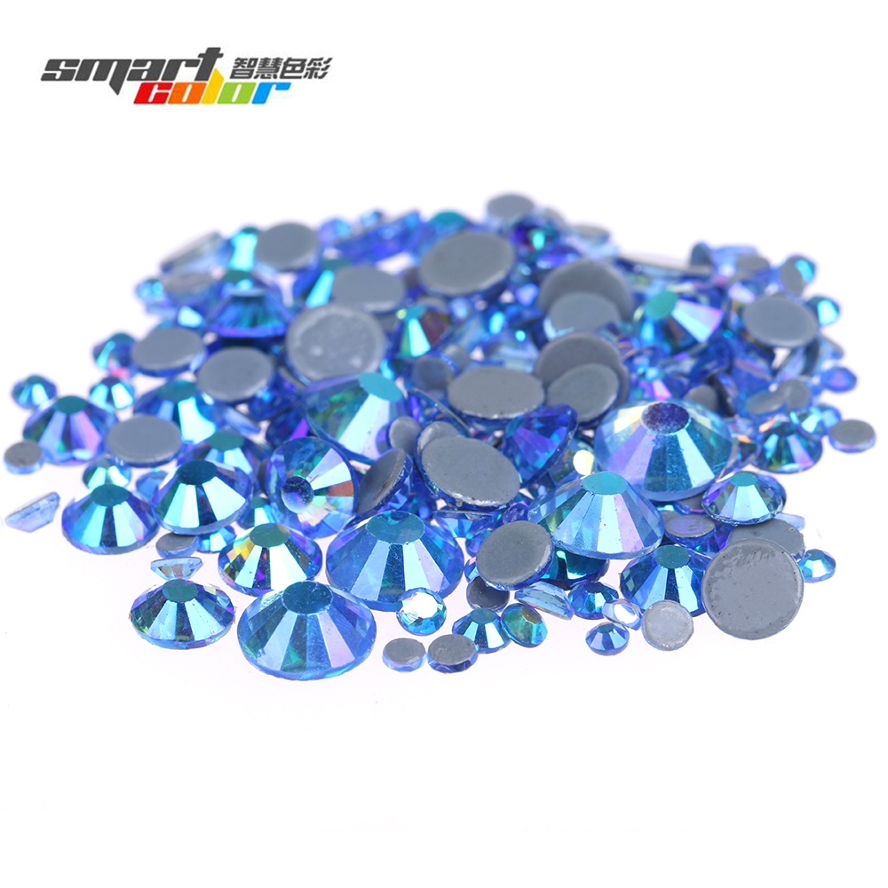 Light Sapphire AB Flatback Hotfix Strass Rhinestones Round Iron On Glass Chatons With Glue Backing Garments Accessories DIY champagne ab non hotfix crystal rhinestones flatback round facet strass stones shiny glue on glass chatons diy nail art supplies