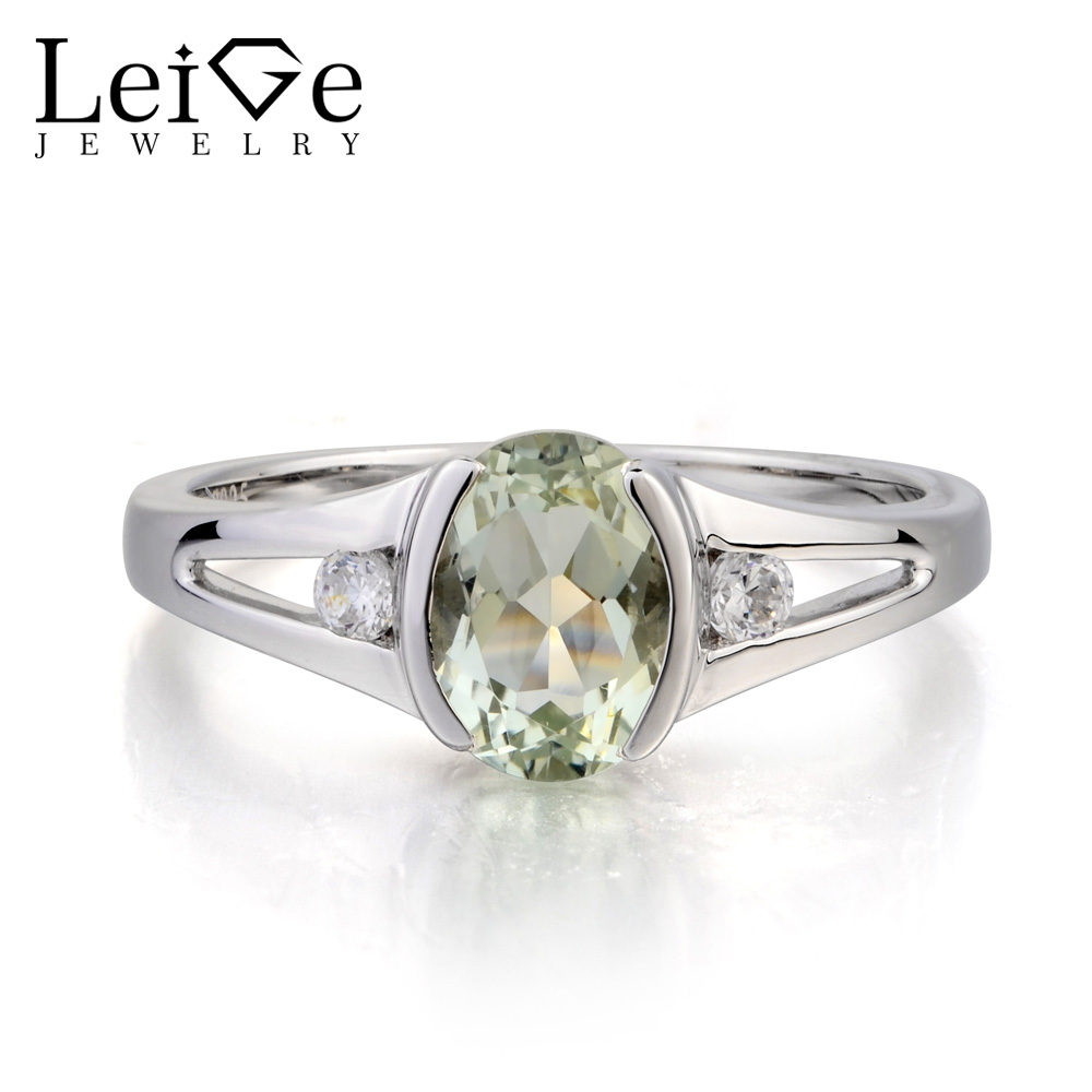 Leige Jewelry Natural Green Amethyst Ring Engagement Ring Oval Cut Gemstone February Birthstone 925 Sterling Silver Ring for Her