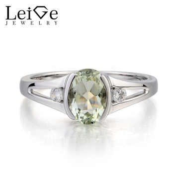Leige Jewelry Natural Green Amethyst Ring Engagement Ring Oval Cut Gemstone February Birthstone 925 Sterling Silver Ring for Her - DISCOUNT ITEM  0% OFF All Category
