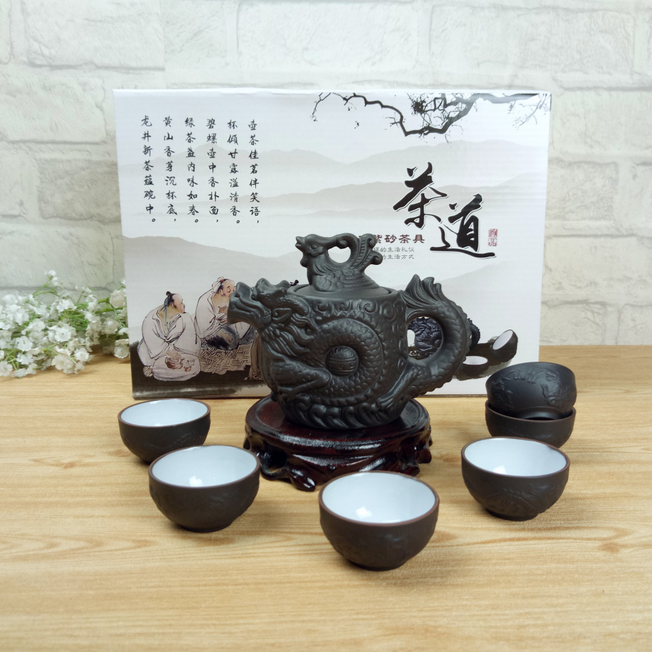 2017 Kung Fu Tea Set Chinese Ceramic Teapot 210ml 1 Dragon Gongfu Tea Pot 6 Cup