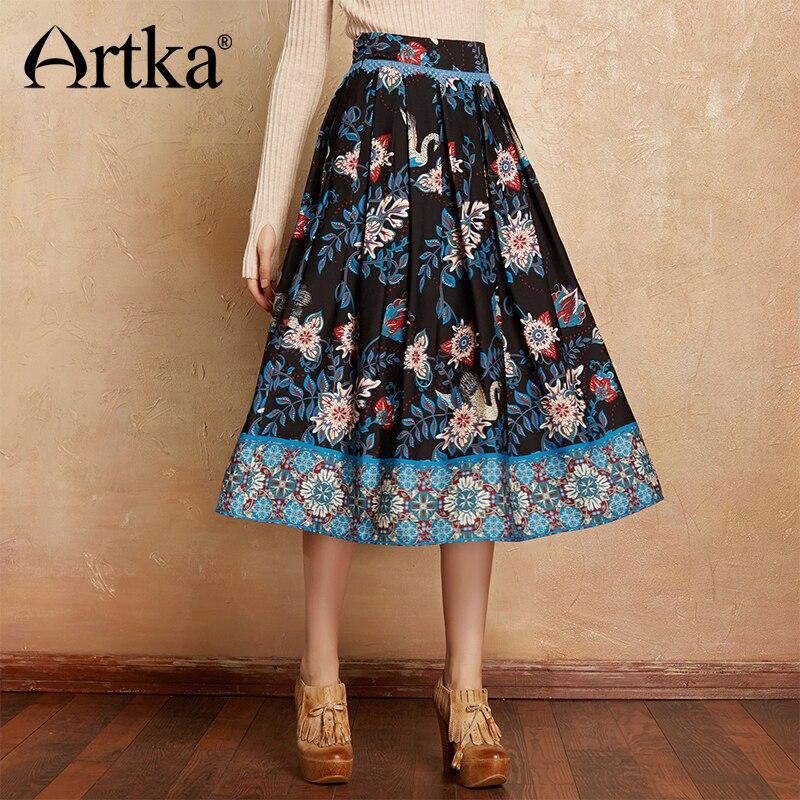 ARTKA Elegant Skirt For Women Autumn Winter Female Skirt A Line Plus Size Skirt Women 2018