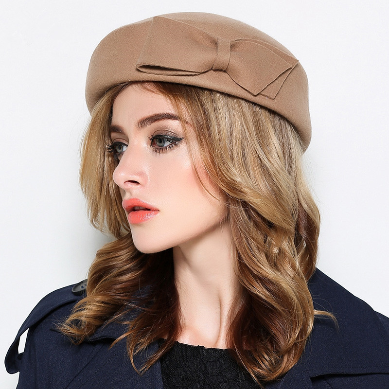 Mother Gift Female Banquet Formal Headwear Lady Party Grace Bowknot Beret Cap Women Autumn And Winter 100% Wool Felt Hat