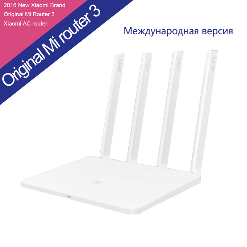 ФОТО English Version Original XiaoMi Mi Router 3 ROM 128MB Processor MT7620A WIFI 2.4G/5.0GHz Dual Band 1167Mbps 4 Antenna Smart App