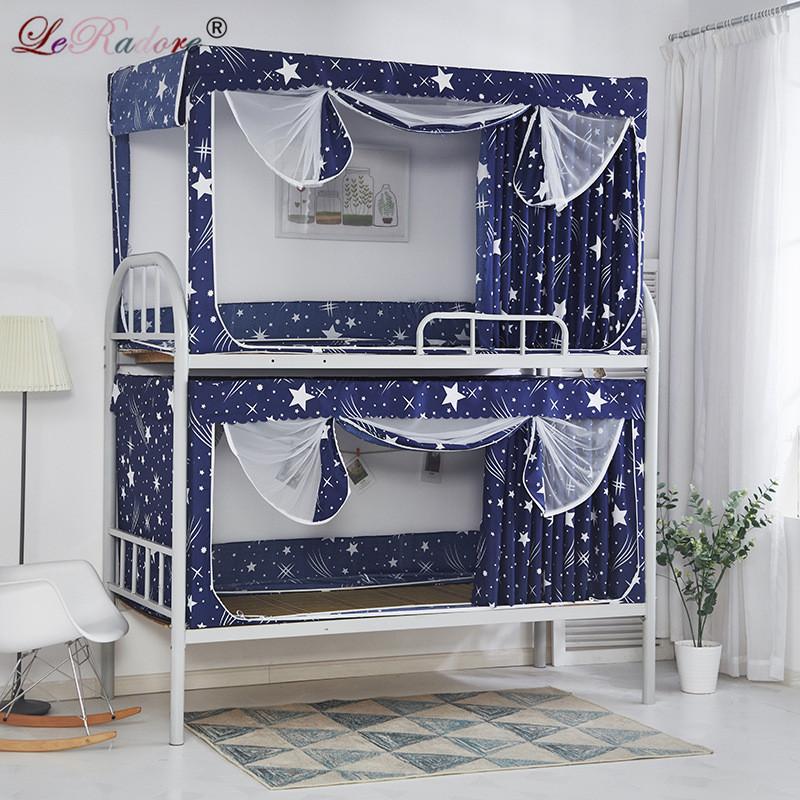 LeRadore Mosquito Net for Students Dorms With Blackout Curtain Polyester Lace Bunk Bed Insect Nets for Single Bed Moustiquaires ...