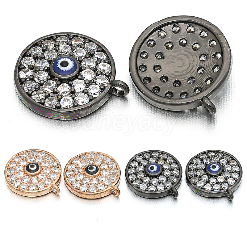 Fashion Round High Quality Brass Cubic Zircon Pendant Accessories Evil Eye DIY Earrings Necklace Accessories Production 11 11mm in Jewelry Findings Components from Jewelry Accessories