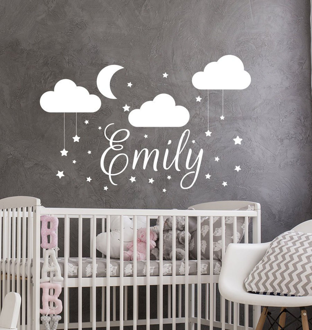 Us 4 58 25 Off Name Wall Decal Baby Nursery Sticker For Son S Vinyl Decals Clouds Art Decor Moon Star Stickers D236 In