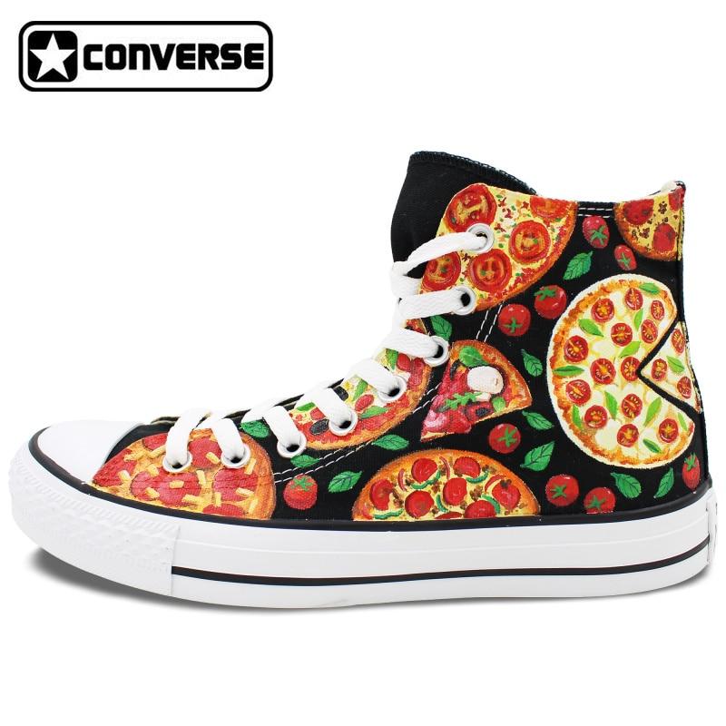 Prix pour Homme Femme Converse All Star Pizza Design Original Personnalisé Main peint Toile Chaussures Garçons Filles Haute Top Femmes Hommes Sneakers cadeaux