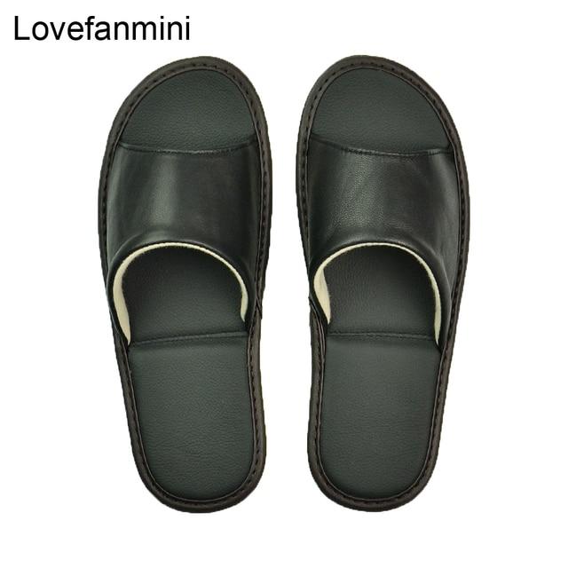 หนัง Sheepskin แท้รองเท้าแตะคู่ Indoor Non SLIP ผู้ชายผู้หญิงหน้าแรกแฟชั่นแบบสบายๆรองเท้าเดี่ยว PVCsoft soles ฤดูใบไม้ผลิฤดูร้อน