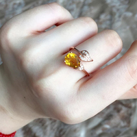 High quality women jewelry 925 Sterling silver Natural stone yellow crystal rings girls water drop Leaf plant shape lovers gift