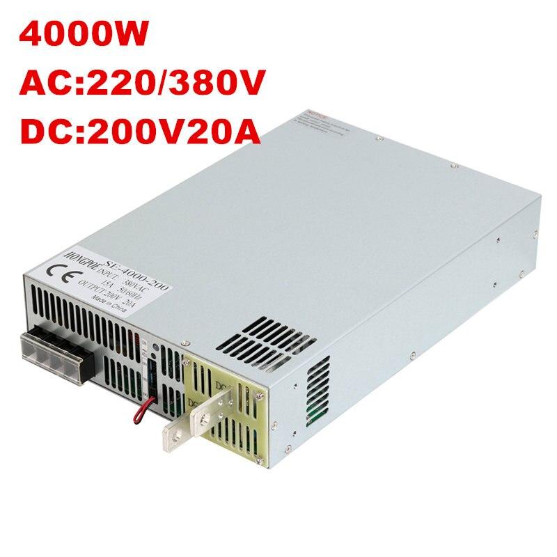 4000W 200V 20A DC20-200v power supply 200V 20A AC-DC High-Power PSU 0-5V analog signal control SE-4000-200 220 277 380VAC kp1000a 200v 1600v