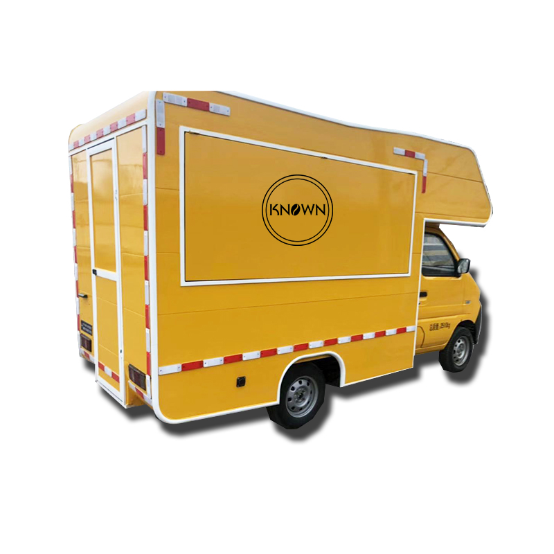 2.7*1.6*2.35m Can Move The Street Electric Food Cart Kitchen Food Truck Mobile Food Van Yellow Electric Food Trailer Cart