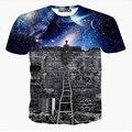Nova europa e américa homens/boy t-shirt 3d moda espaço galaxy t camisa impressão uma pessoa assistir a chuva de meteoros