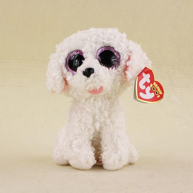 62b95807e25 15cm Ty Beanie Boos Big Eyes Series Pippie Dog White Curly Hair Stuffed  Animal Plush Doll Kids Gifts