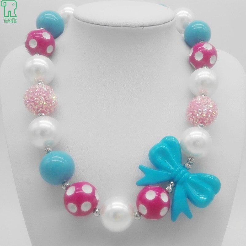 Kids Chunky Pendant Necklace New Acrylic Bubblegum Beads Chokers Toddler Costume Jewelry Children