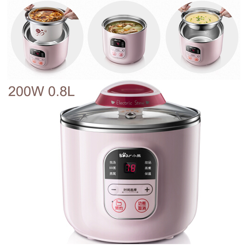 JA1 Automatic Insulation Electric Slow Cooker 9.5H Reservation Timing Electric Cooker 200W 0.8L Mini Soup Pot for 1-2 People torx shape dn50 heating elements for soup bucket pot cinquefoil type 2 thread electric heat tube for cooker