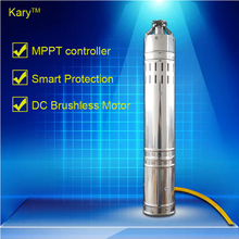 Kary 2017 new design low pressure 24 volt dc brushless submersible solar water pump, 40m lift 9GPM solar bore pump for deep well