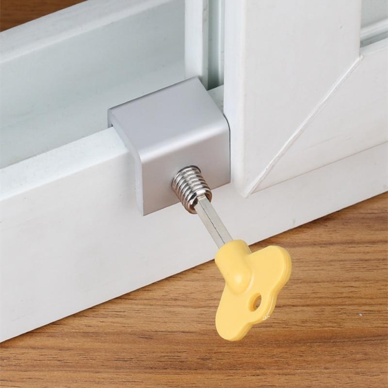 Window Lock Limiter Cabinet Locks & Straps Sliding Window Aluminum Alloy Steel Window Safety Lock Anti-theft Locks