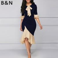 B&N Women Formal Dress Extra Large Size S XXXXL OL Ruffle Patchwork Cloth Bow Tie Collar Stretch Summer Lady Chiffon Pullover