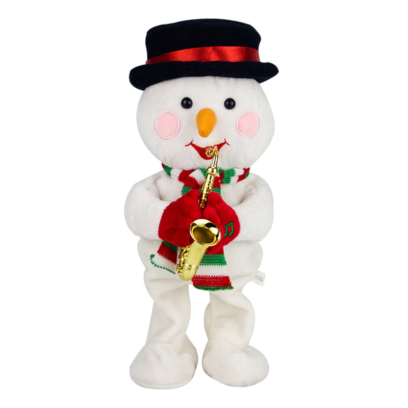 32cm Electric Santa Claus snowman elk Christmas hat Musical Dancing Plush Dolls Toys Gifts For Child Home Decorations Crafts plush christmas hats christmas holiday xmas cap for santa claus warm hat