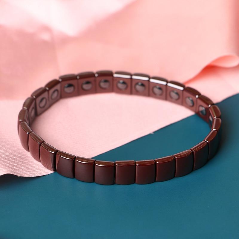 New Adjustable Bracelet for Women Full Ceramic Bangle Bracelet Black White Blue Pink Brown Ceramic Square Ceramic Jewelry Gift in Strand Bracelets from Jewelry Accessories