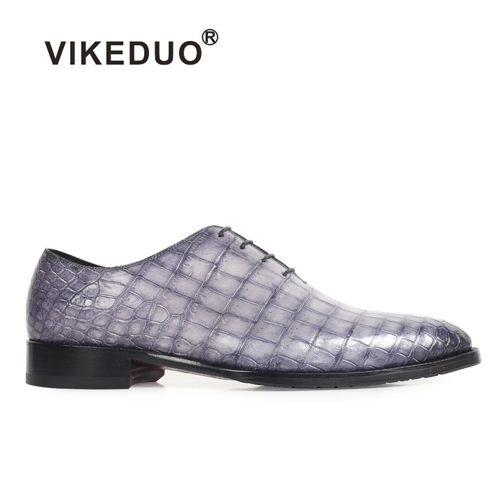 2018 Vikeduo Hot 100% Crocodile Luxury Mens Oxford Shoes Custom Handmade Alligator Skin Genuine Leather Wedding Unique Design