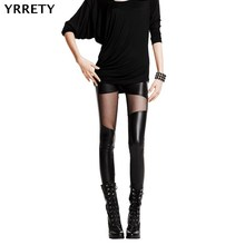 YRRETY New Sexy Women Pants Leather Stitching Leggings Fashion Lace Black Leggings Leather Legging Punk Gothic Rock Leggings cheap Ankle-Length STANDARD Knitted W010 Sexy Club Faux Leather Polyester Patchwork general
