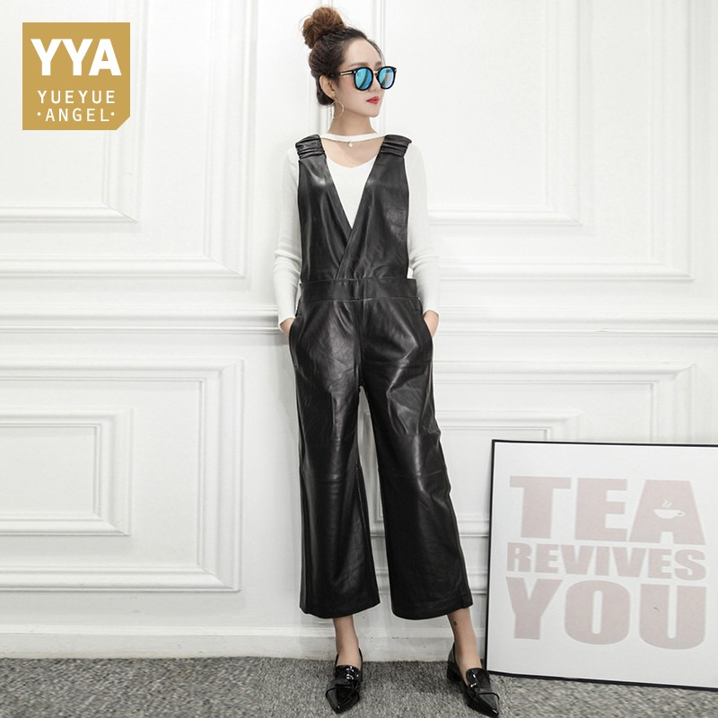 High Quality Luxury Womens Jumpsuit Fashion Solid Sheepskin Long Overalls Female Slim Fit Sleeveless High Waist