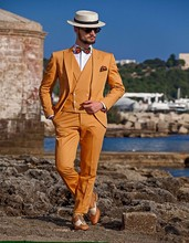 Latest Coat Pant Designs Orange Yellow Double Breasted Slim Fit Men Suit 3 Piece Tuxedo Style Suits Custom Groom Blazer Vestidos
