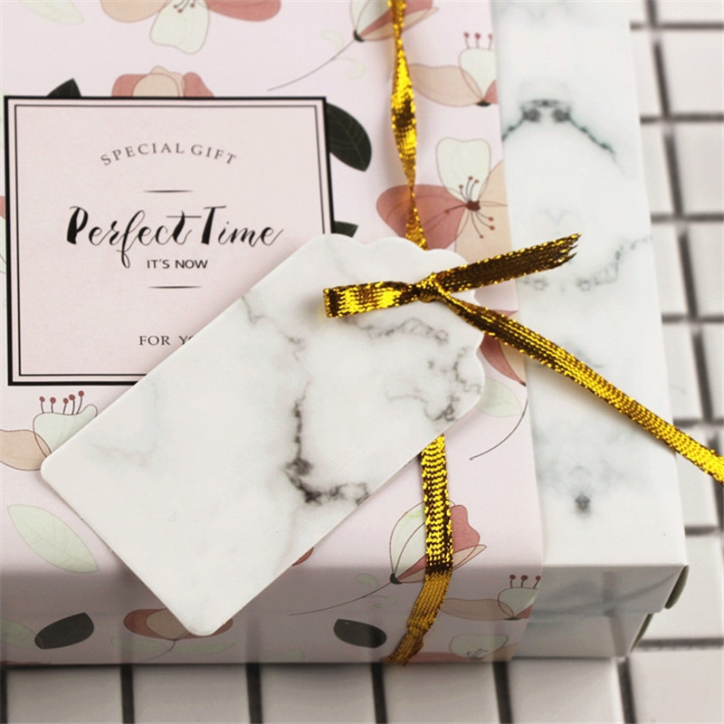 Marble Pattern Paper Mark Tags Clothes Hanging Label Wedding Favors Gift Box Tag Card Party Favors DIY Baking Bags Tag 50PCS