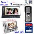7 polegada de Cor Monitor De Vídeo Porta Telefone Intercom Sistema de Visão Noturna Câmera À Prova D' Água 8 GB Cartão SD Gravar Vídeo