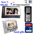 7 pulgadas Del Monitor de Color Video de La Puerta de Intercomunicación Teléfono Night Vision System Cámara Impermeable 8 GB Tarjeta SD de Grabación de Vídeo