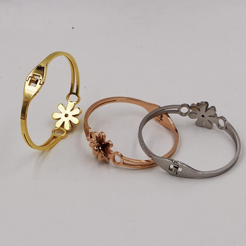 flower Bracelet Jewelry Stainless Steel Bracelets Bangles flower new design fashion jewelry for women