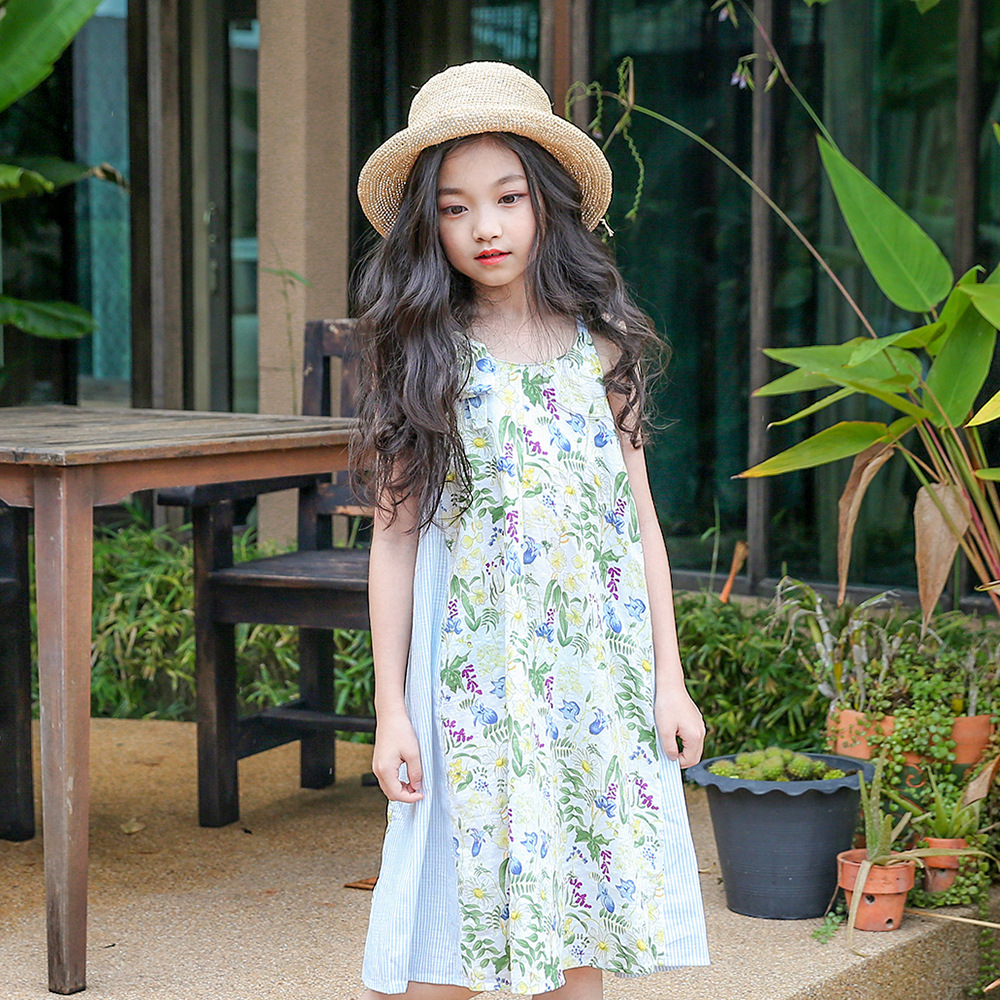 Teenagers Girl Floral Dress Summer 2018 Big Girls Clothing Teen Clothes Kids Dresses For Girls 34 5 6 7 8 9 10 11 12 13 14 Years summer girl dress 2016 kids dresses for girls of 12 years sleeveless printed big size black dress teenagers girl dresses robe14