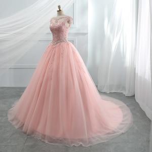 Image 3 - Fansmile Tulle Mariage Vestido De Noiva ลูกไม้สีชมพูชุดแต่งงาน 2020 PLUS ขนาดยาวรถไฟ Gowns แต่งงานชุดเจ้าสาว FSM 458T