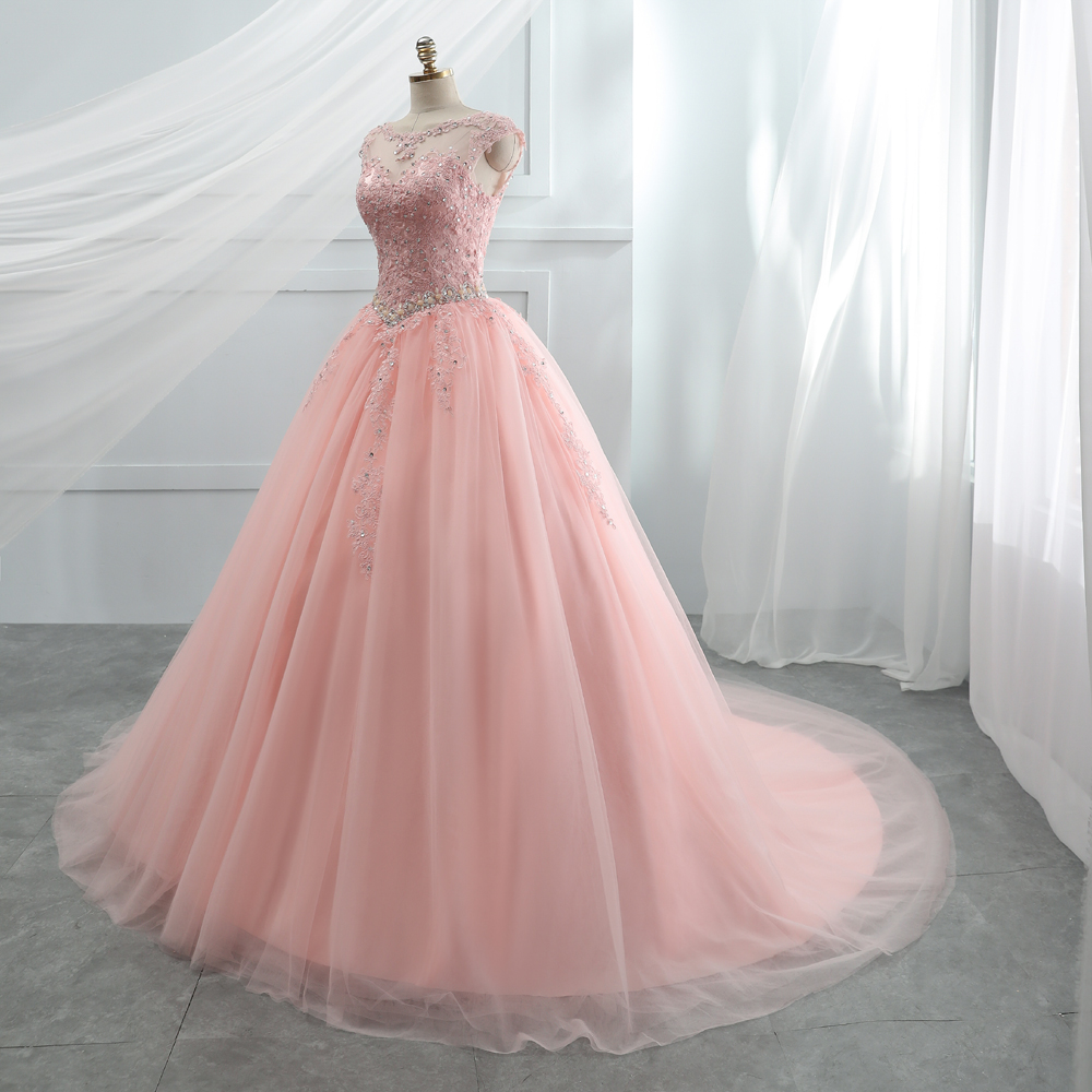 Image 3 - Fansmile Tulle Mariage Vestido De Noiva Pink Lace Wedding Dresses 2019 Plus Size Long Train Wedding Gowns Bride Dress FSM 458T-in Wedding Dresses from Weddings & Events