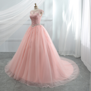 Image 3 - Fansmile Tulle Mariage Vestido De Noiva Pink Lace Wedding Dresses 2020 Plus Size Long Train Wedding Gowns Bride Dress FSM 458T