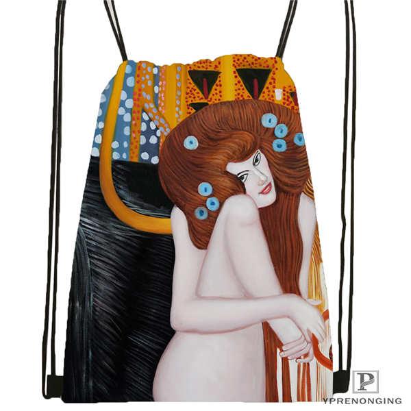 Custom gustav klimt Drawstring Backpack Bag Cute Daypack Kids Satchel Black Back 31x40cm 2018612 01 5